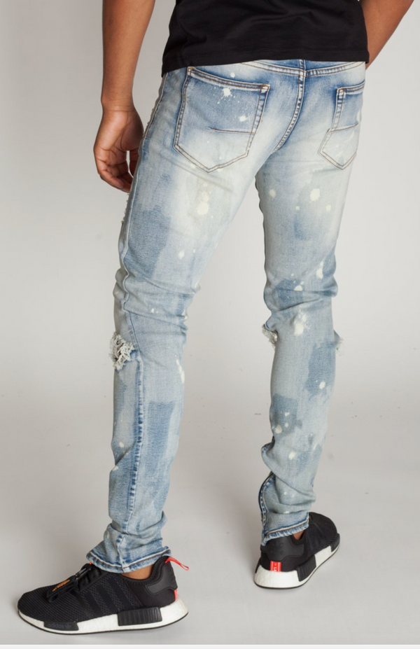 KDNK: Bleached Ankle Zip Jean W/ Bleach Spots (Medium Blue)
