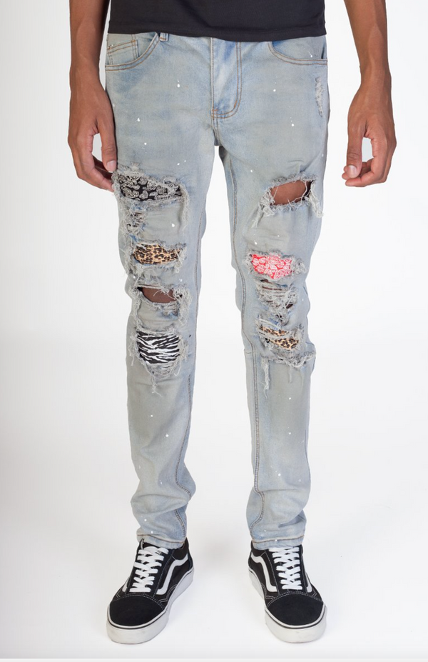 KDNK: Multi Patched Jeans (Blue)