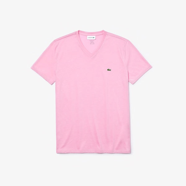 Lacoste: Men's V-neck Pima Cotton Jersey T-shirt (Candy Pink)