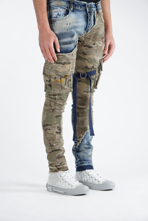 Valabasas Jeans: DRAGON (BLUE-OLIVE CAMO)