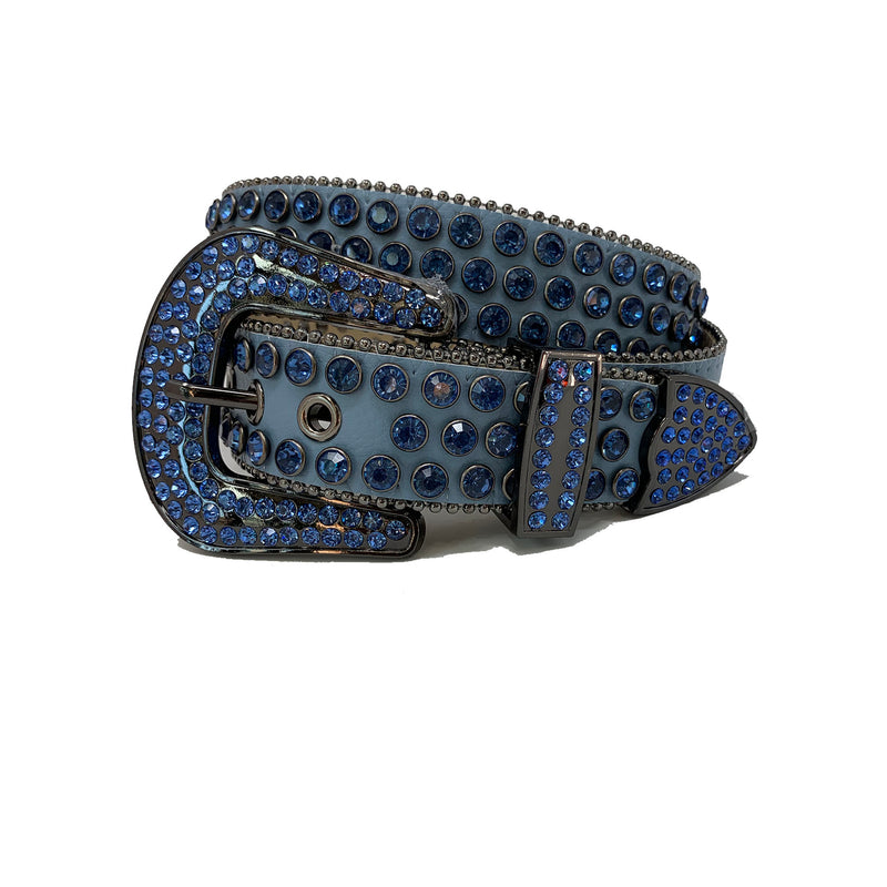 DNA: DNA Belt Blue Leather with Blue Stones