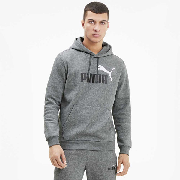 PUMA: ESS 2 Col Hoodie Big Logo (Medium Grey Heather)