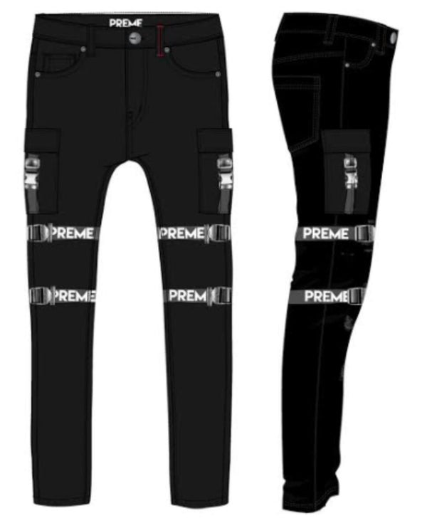 Preme: Buffalo Black Strapped Cargo Denim (Black Straps)