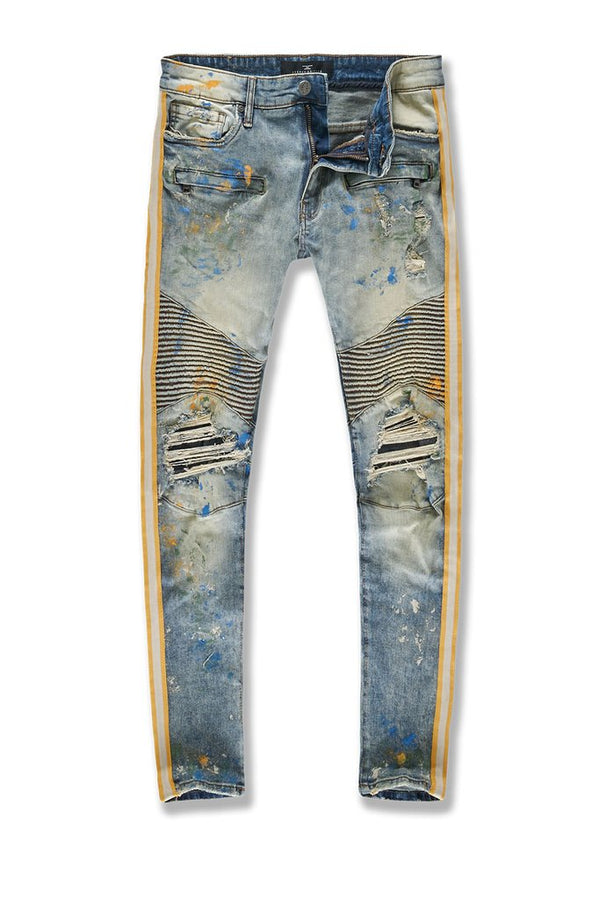 Jordan Craig: Sean Striped Renegade Moto Denim (Storm)