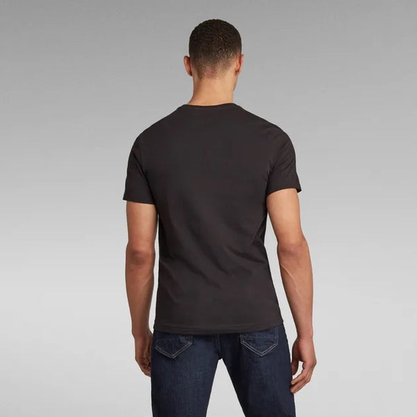 G-STAR RAW: CHEST GRAPHIC V-NECK T-SHIRT (DK BLACK)