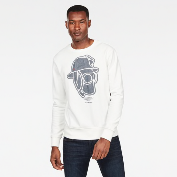 G-Star Raw: GRAPHIC 10 CORE SWEATER (Milk)