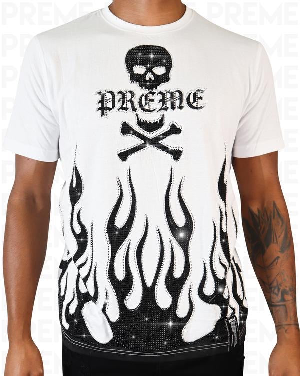 Preme: White Flame T-Shirt (Black Flames)