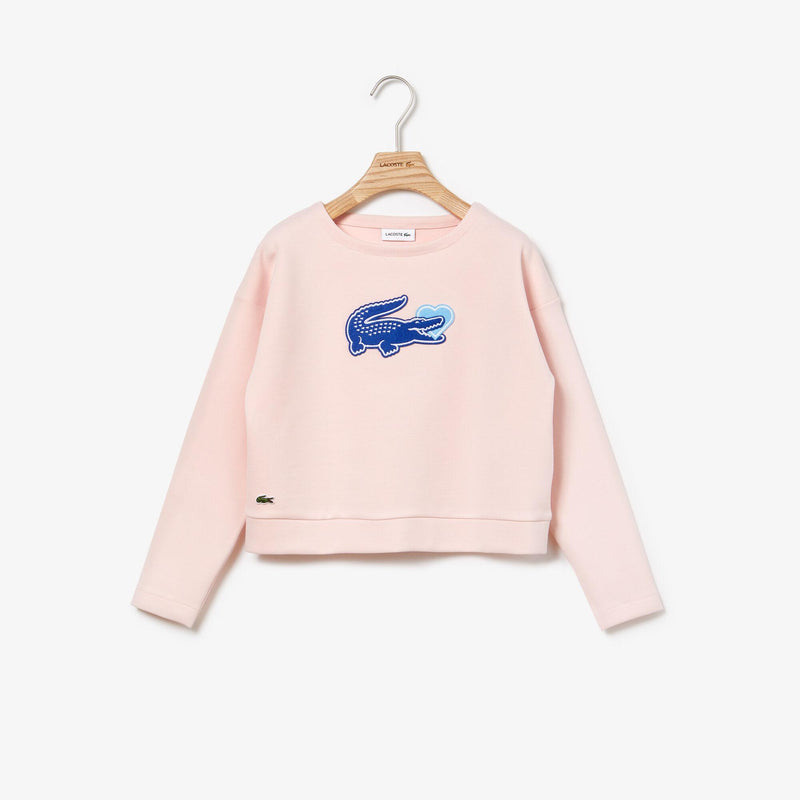 LACOSTE GIRLS : STEAL YOUR HEART SWEATER CROP TOP (LIGHT PINK)