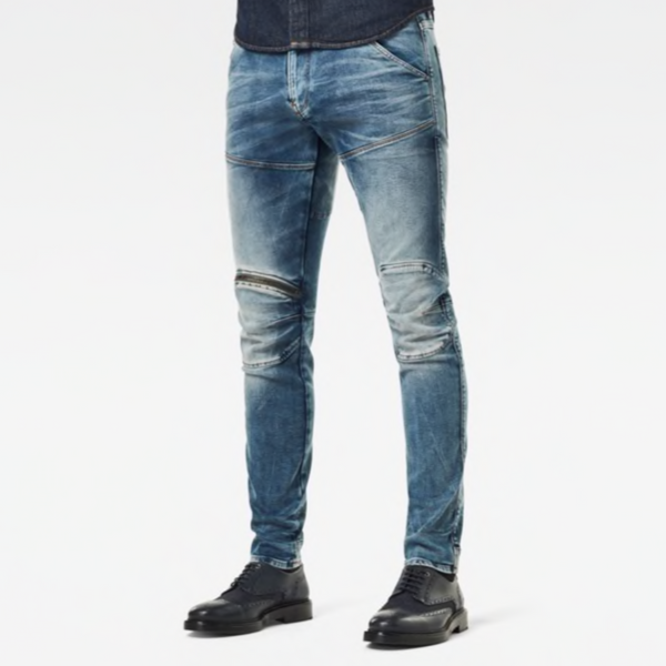 G-STAR RAW: 5620 3D ZIP KNEE SKINNY Denim Jeans (ANTIC FADED KYANITE)