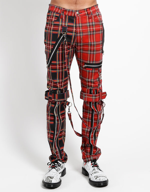 TRIPP: Plaid Split Bondage Jeans (Red/Black)