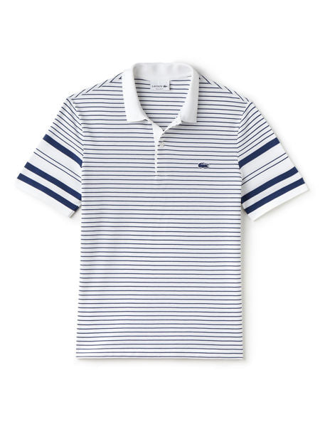 Lacoste: Men's Lacoste Regular Fit Waffle Stripe Pique Polo Shirt (White/Inkwell)