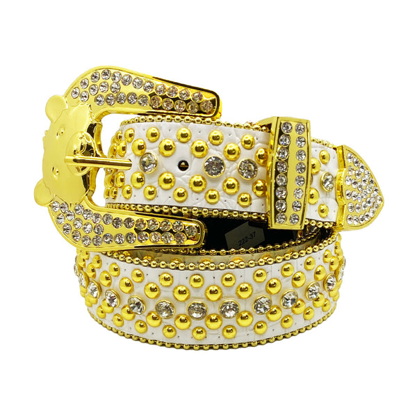 Elite: Bear Buckle Belt White Leather with Silver Stones & Gold Studs