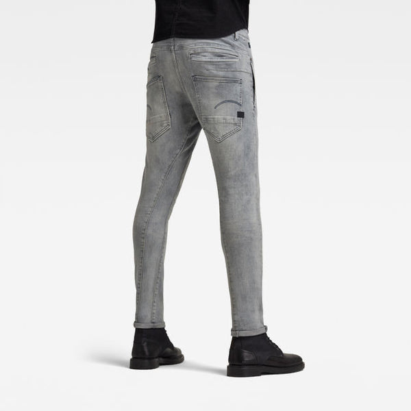 G-STAR RAW: D-STAQ 3D SLIM Denim Jeans (VINTAGE ORION GREY DESTROYED)