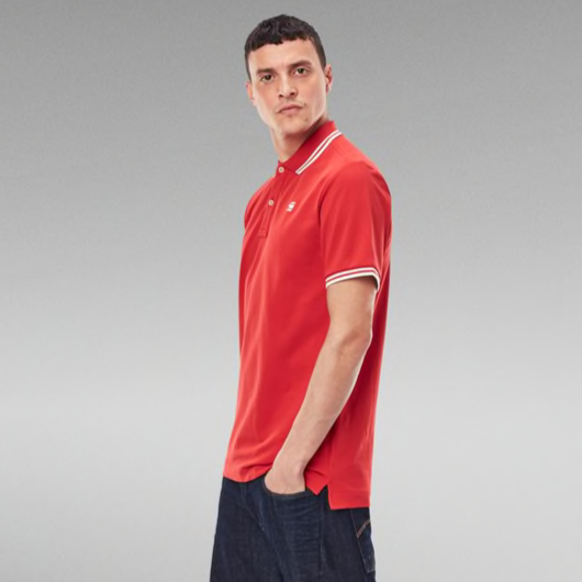 G-STAR RAW: DUNDA SLIM STRIPE POLO (DARK CANDY)