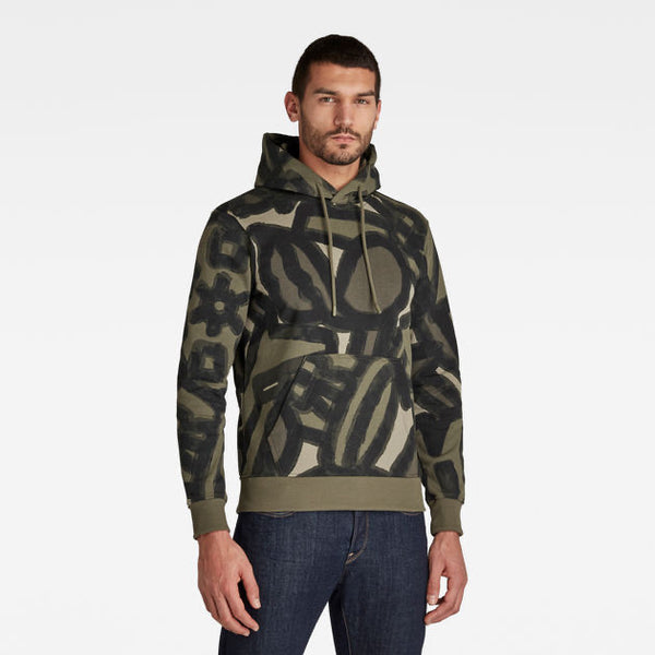 G-Star Raw: BRUSH STROKE AO HOODED SWEATER (SHAMROCK BRUSHED OBJECTS)