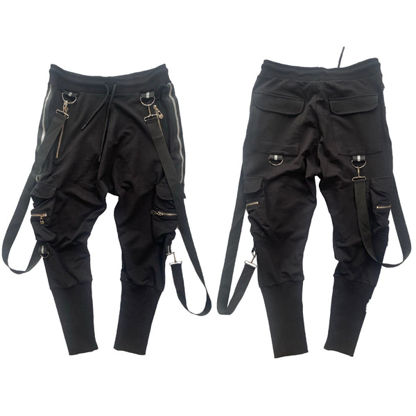 DELMARO: DM Long Strap Joggers (Black/Grey)
