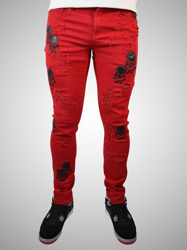 Preme: Scarlet Ripped Denim (Black Skulls)