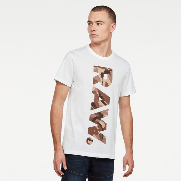 G-STAR RAW: DABA LOGO T-SHIRT (White/Chocolate Berry)