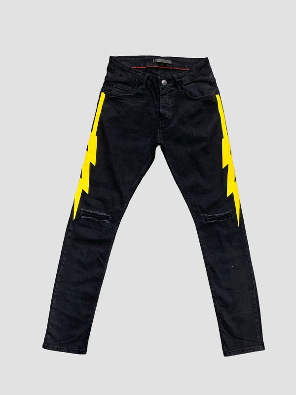Black Industry: Black Industry Lightning Bolt Denim (Yellow)