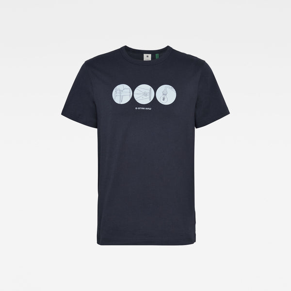 G-STAR RAW: CIRCLE OBJECT BACK GRAPHIC T-SHIRT (MAZARINE BLUE)