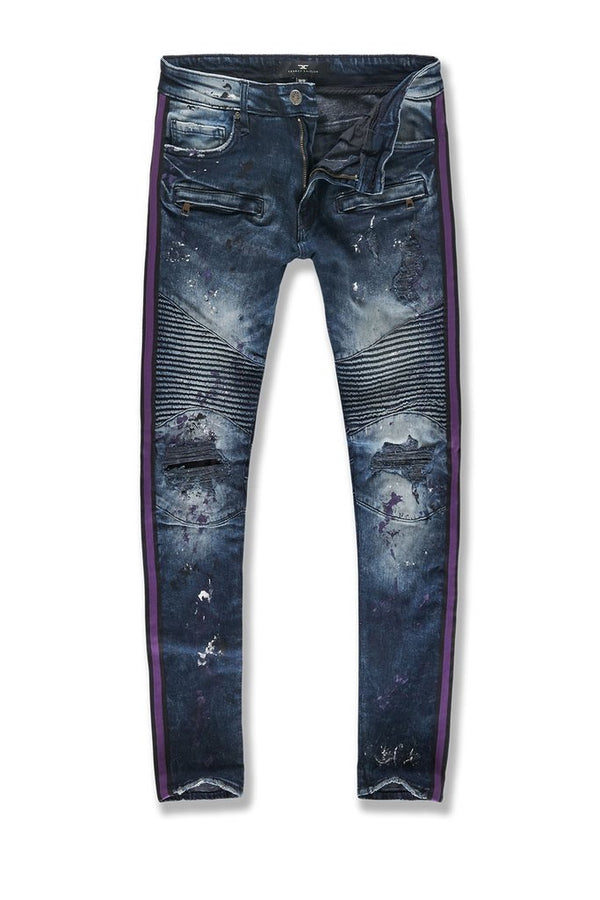 Jordan Craig: Sean Striped Renegade Moto Denim (Dark Concord)