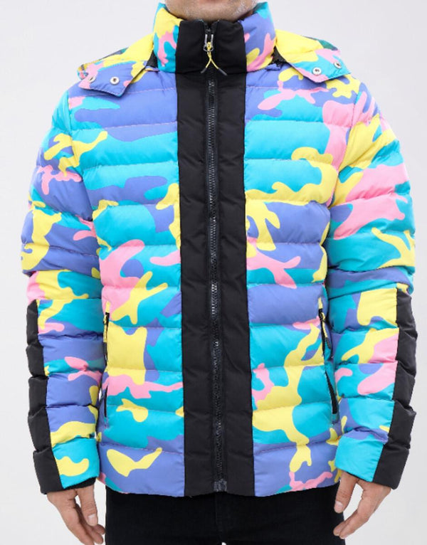ROKU: ROKU Crazy Camo Bubble Jacket (Blue/Pink/Yellow)