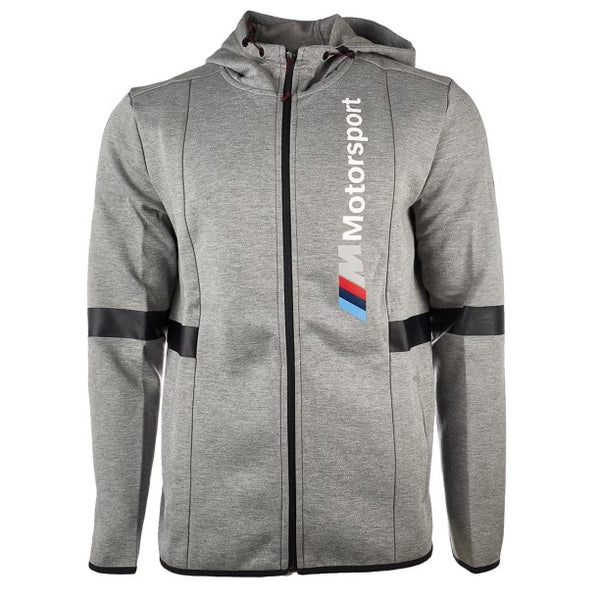 PUMA: BMW MMS HOODED SWEAT JACKET  (MED GRAY HEATHER)