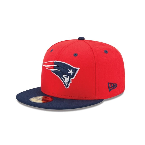 New Era Authentic 59Fifty Fitted: New England Patriots (Red/Blue)