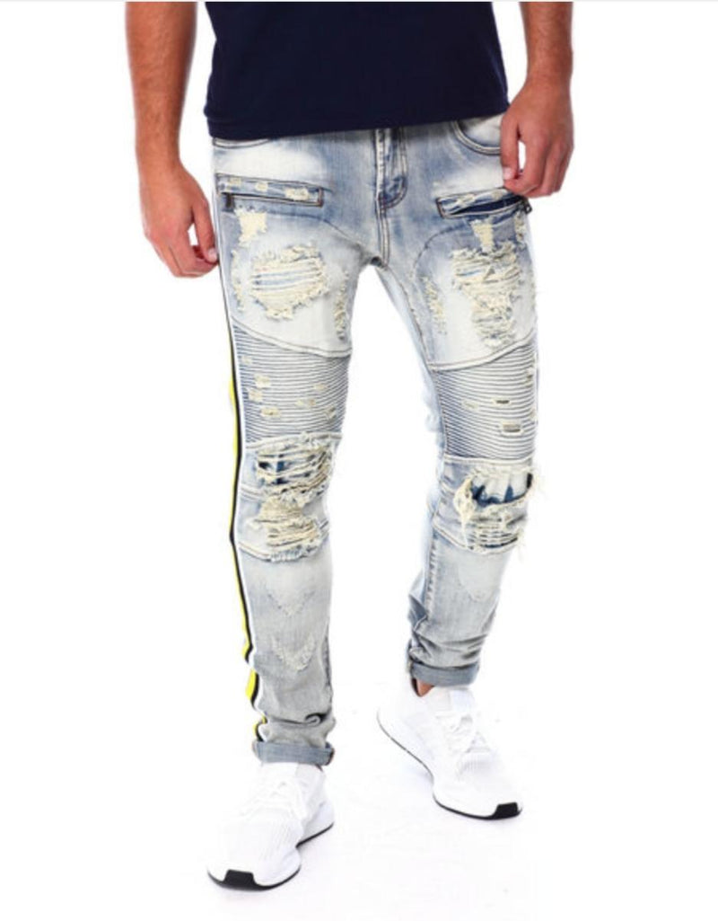 Preme: Indigo Biker Denim (Yellow/Black Stripes)