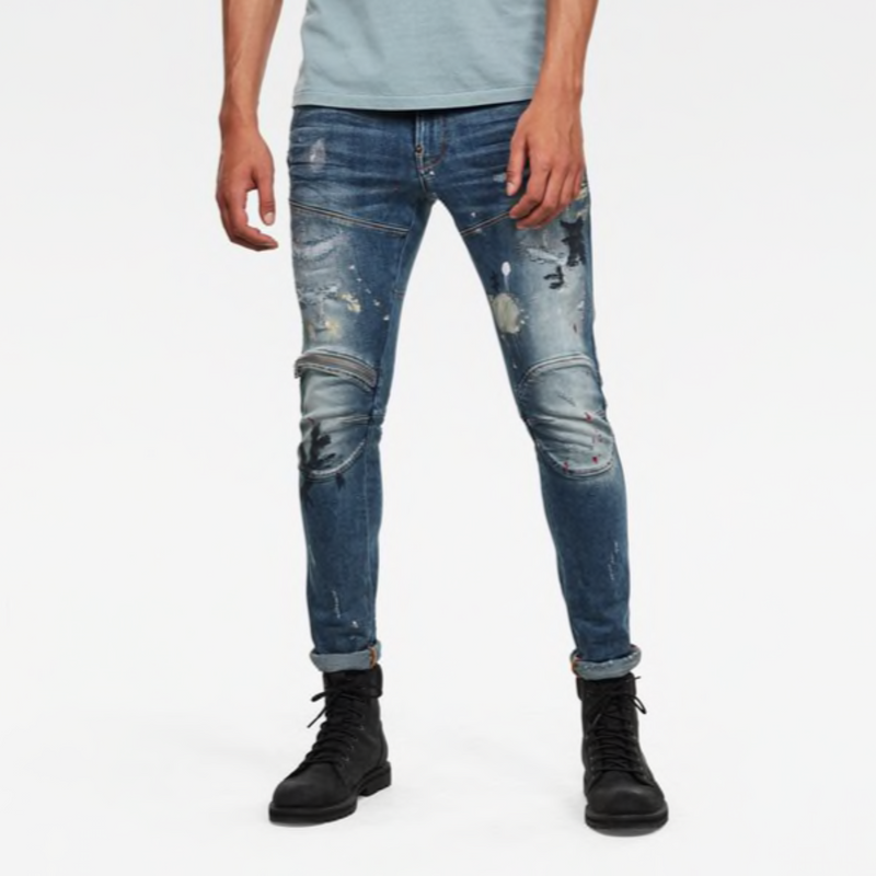 G-STAR RAW: 5620 3D ZIP KNEE SKINNY Denim Jeans (SUN FADED PRUSSIAN BLUE PAINTED)