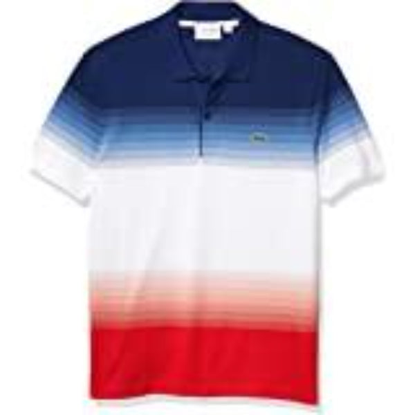 Lacoste: Men's Made in France Cotton Piqué Cotton Crew Neck T-shirt (Red/White/Blue)