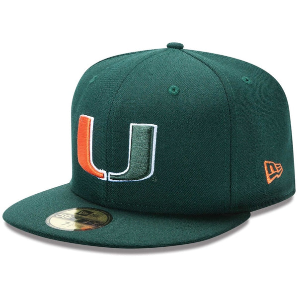 New Era Authentic 59Fifty Fitted: University Of Miami (Green)