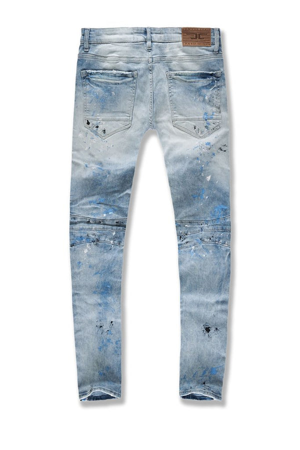 Jordan Craig: Sean Striped Renegade Moto Denim (Painted UNC Wash)