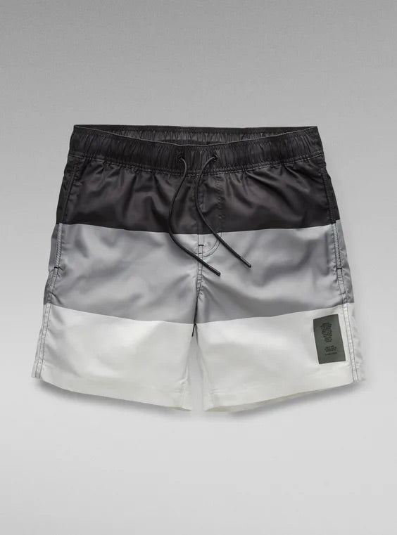 G-STAR RAW:Dirik Block Stripe Swimshorts (Black/Grey)