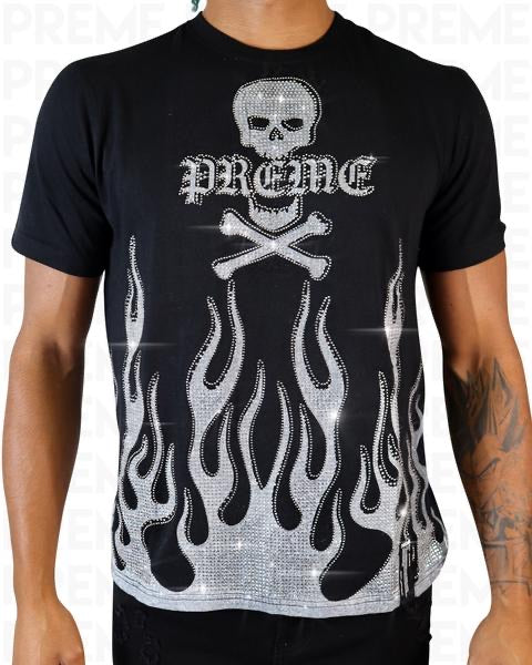 Preme: Black Flame T-Shirt (White Flames)