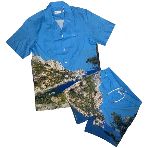 Lacoste: Men's Printed Cotton Shirt & Trunks Set(Blue/White)