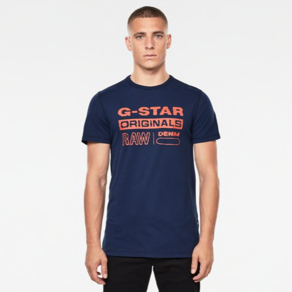G-STAR RAW: WAVY LOGO ORIGINALS T-SHIRT (Imperial Blue)