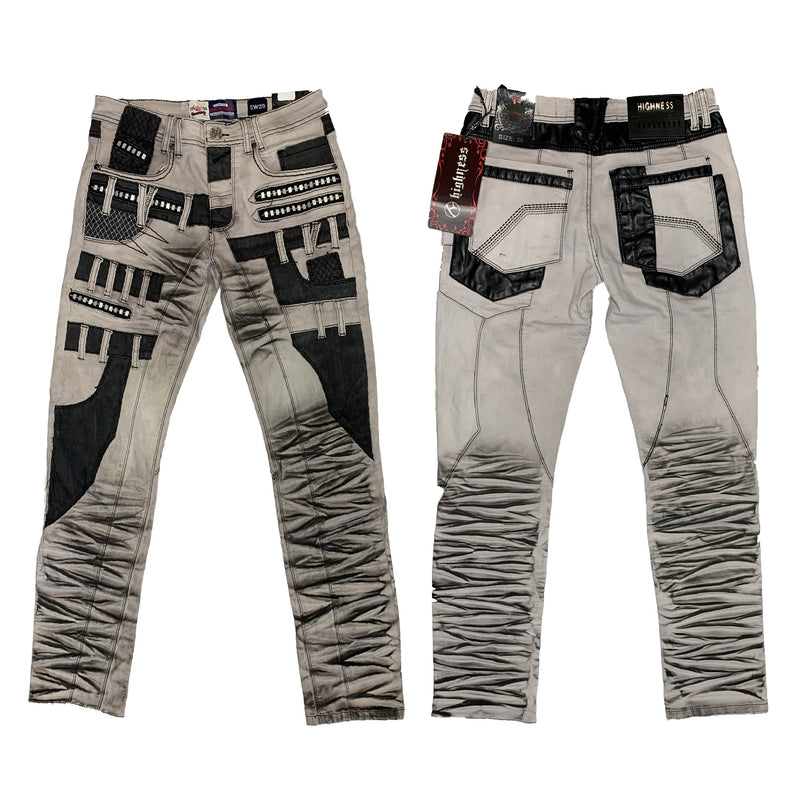 Highness: Grey Patchwork Denim