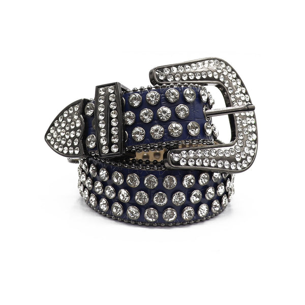 DNA: DNA Belt Navy Blue Leather with Silver Stones
