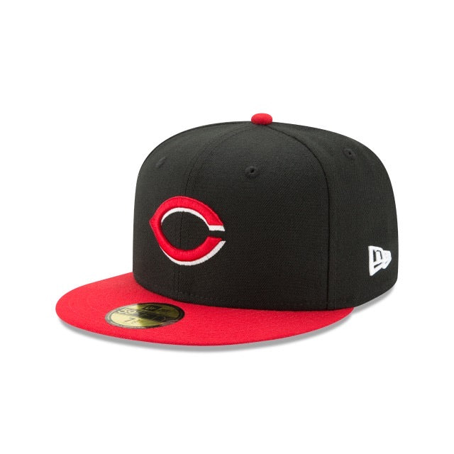 New Era Authentic 59Fifty Fitted: Cincinnati Reds (Black/Red)