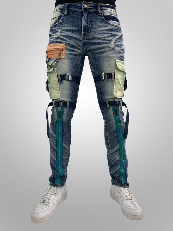 Preme: Denim Multi Colored Cargo