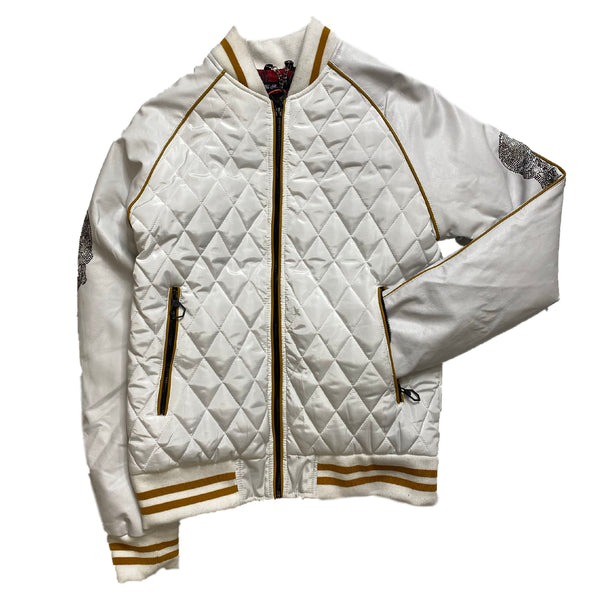 HARD SODA: SKELETON BOMBER JACKET (WHITE/GOLD)