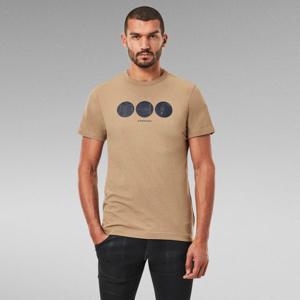 G-STAR RAW: CIRCLE OBJECT BACK GRAPHIC T-SHIRT (BERGE)