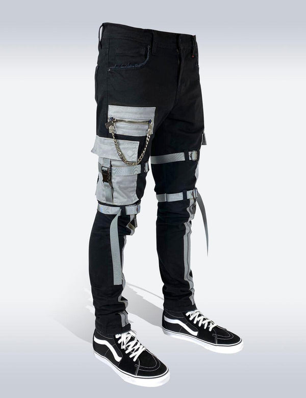 Preme: Buffalo Black & Grey Utility Strapped Denim