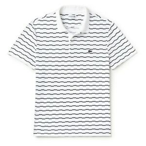 Lacoste: Men's Lacoste Slim Fit Stretch Pique Polo Shirt (White/Navy)
