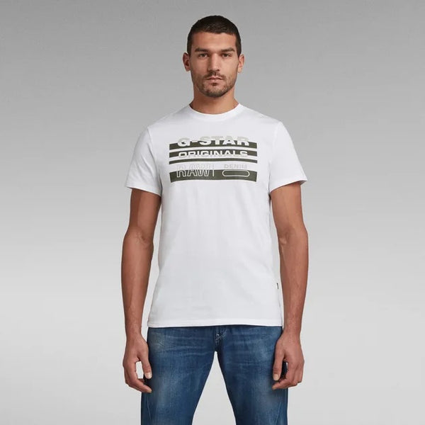 G-STAR RAW: ORIGINAL STRIPE LOGO T-SHIRT (WHITE)