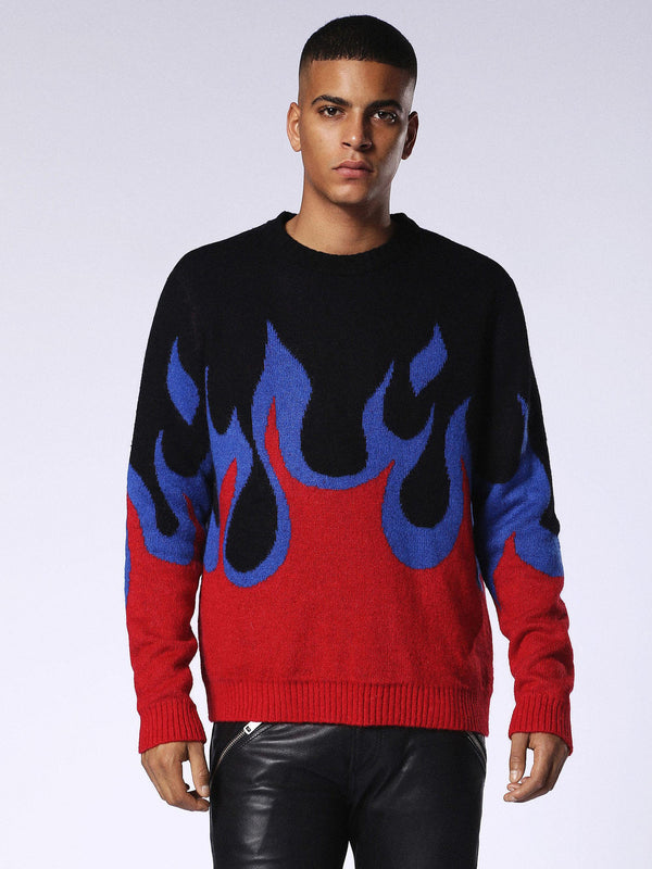 DIESEL: K-FIRE PULLOVER SWEATER (BLACK)