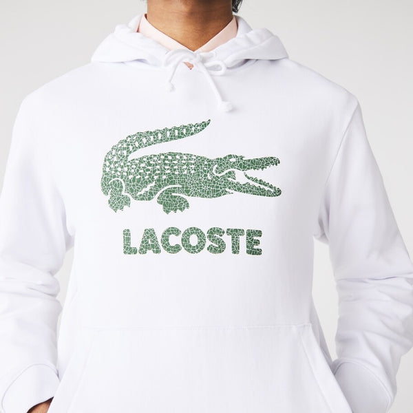 Lacoste: Crackled Print Hoodie(White)