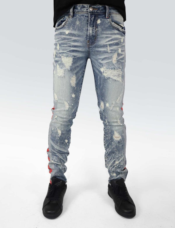 Preme: Niagara Indigo Denim (Red/Grey Stripes)