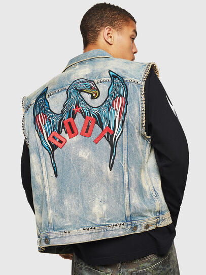 DIESEL: D-SMAK DENIM BIKER JACKET